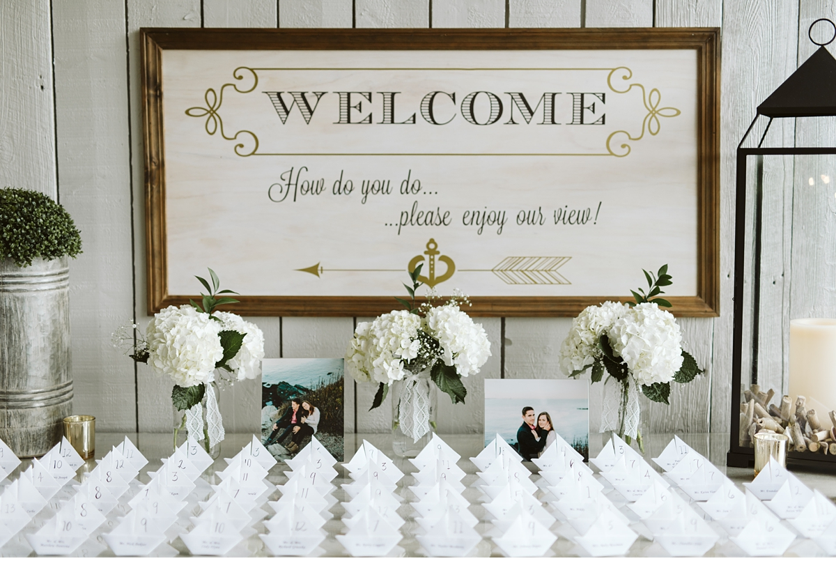 Wedding placecards at Oceanview of Nahant