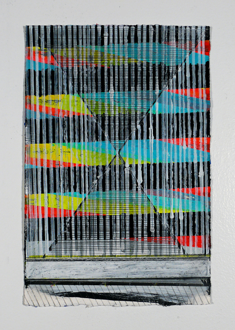 """NY12#02,11"""" X 7.5"""",mixed media on paper,2012 SOLD  prints available at Wheatpaste"""