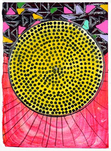 "N Y11#14, 7"" X 5"", mixed media on paper, 2011"