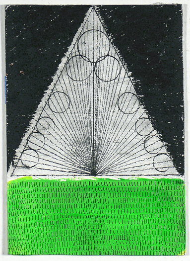 """N Y11#18, 7"""" X 5"""", mixed media on paper, 2011 SOLD"""