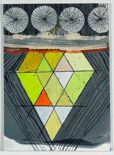 """NY11#20, 7"""" X 5"""", mixed media on paper, 2011, SOLD"""