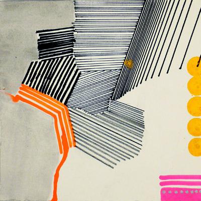 """NY10#16,7"""" x 7"""",mixed media on paper,2010, SOLD"""