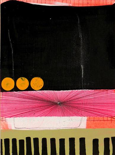 """NY10#30, 8""""x6"""",mixed media on paper,2010, SOLD"""