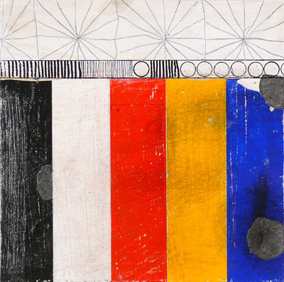 """N Y10#43,7"""" x 7"""",mixed media on paper,2010, SOLD"""