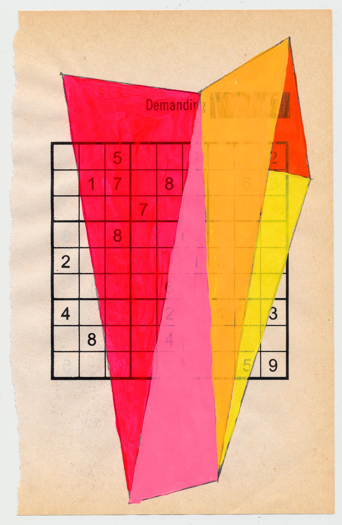 "Sudoku 16#09   6"" X 9.25"", mixed media on Sudoku paper,2016 SOLD"