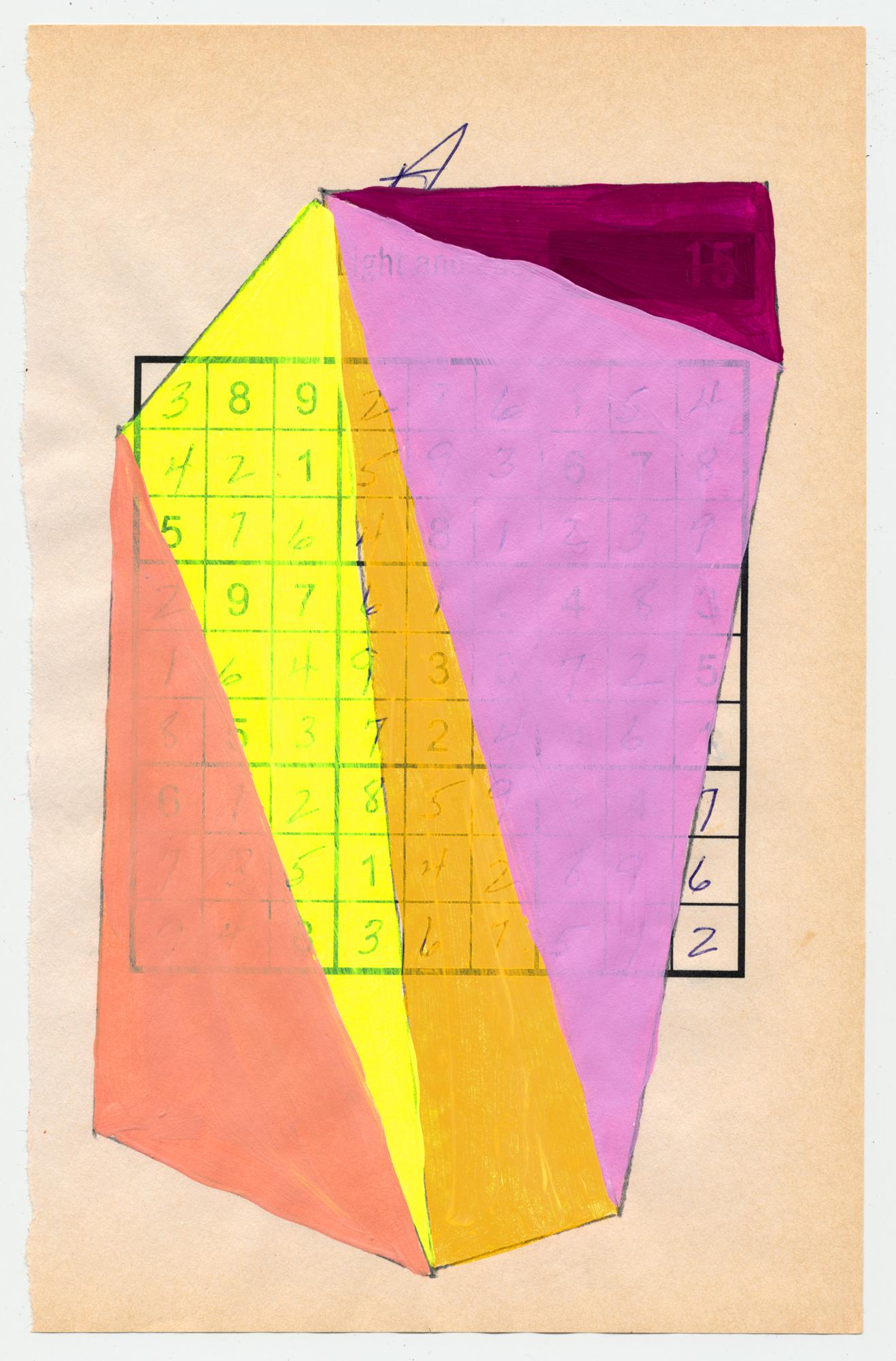"""Sudoku 16#08   6"""" X 9.25"""", mixed media on Sudoku paper,2016  available at Etsy"""
