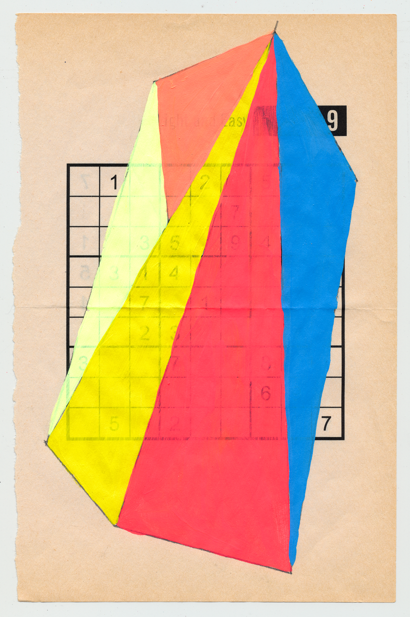 "Sudoku 16#06   6"" X 9.25"", mixed media on Sudoku paper,2016 SOLD"