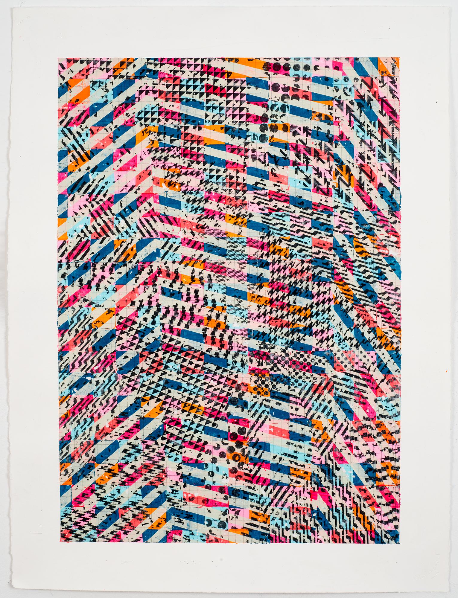 """NY16#65,  30"""" X 22"""", acrylic on paper, 2016"""