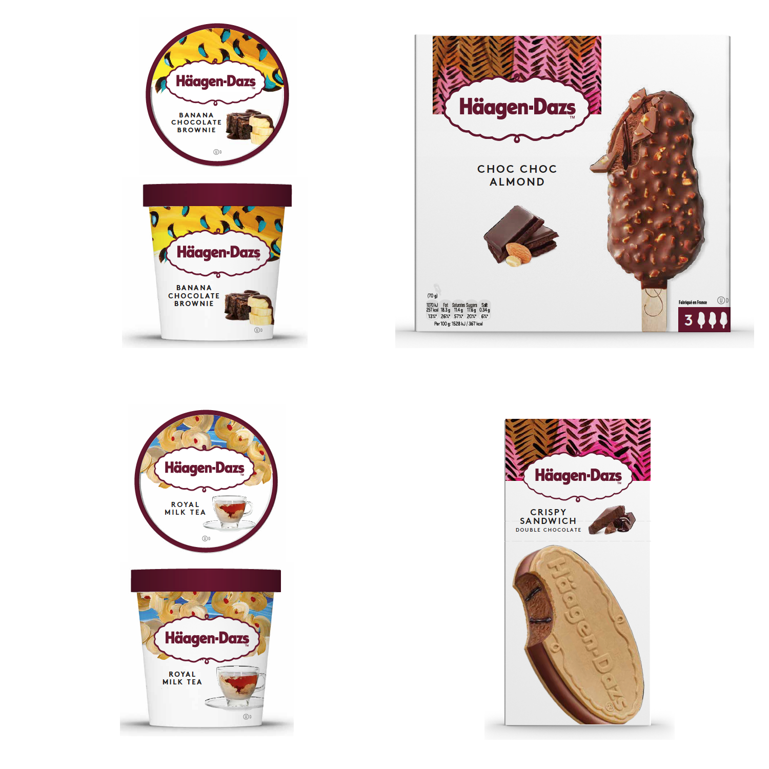 I created custom designs for Haagan Dazs. This was part of a package design overhaul featured in European & Asian markets .