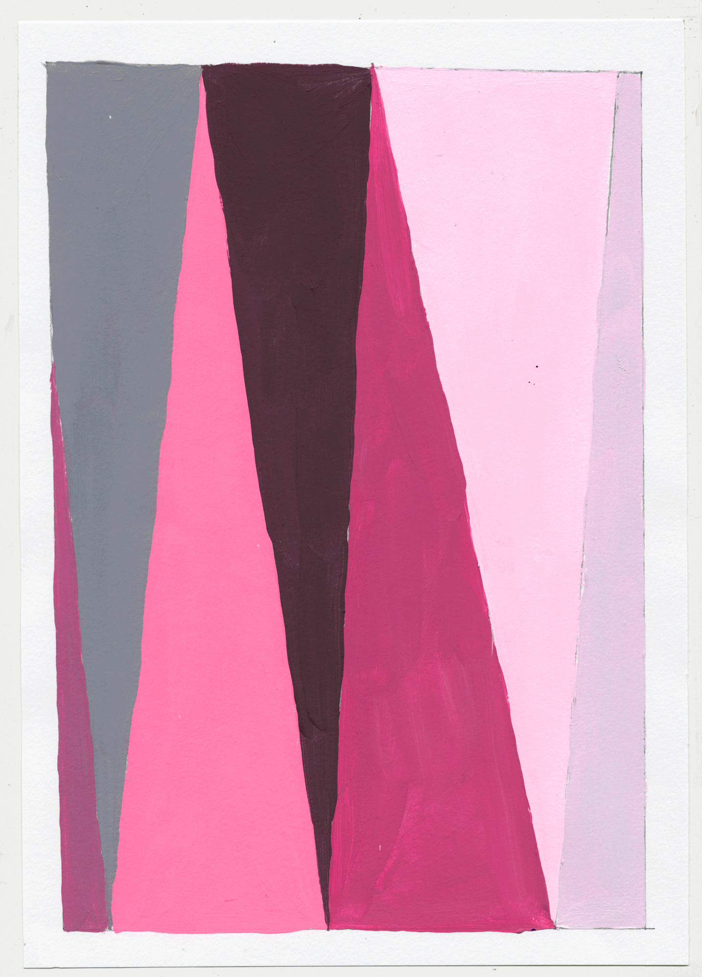 "NY17#30 10"" X 7"", acrylic on paper, 2017  available at Etsy   again with color studies! 3 sets of 3. using a primary color & its' complement to create subtle variations & muted colors."
