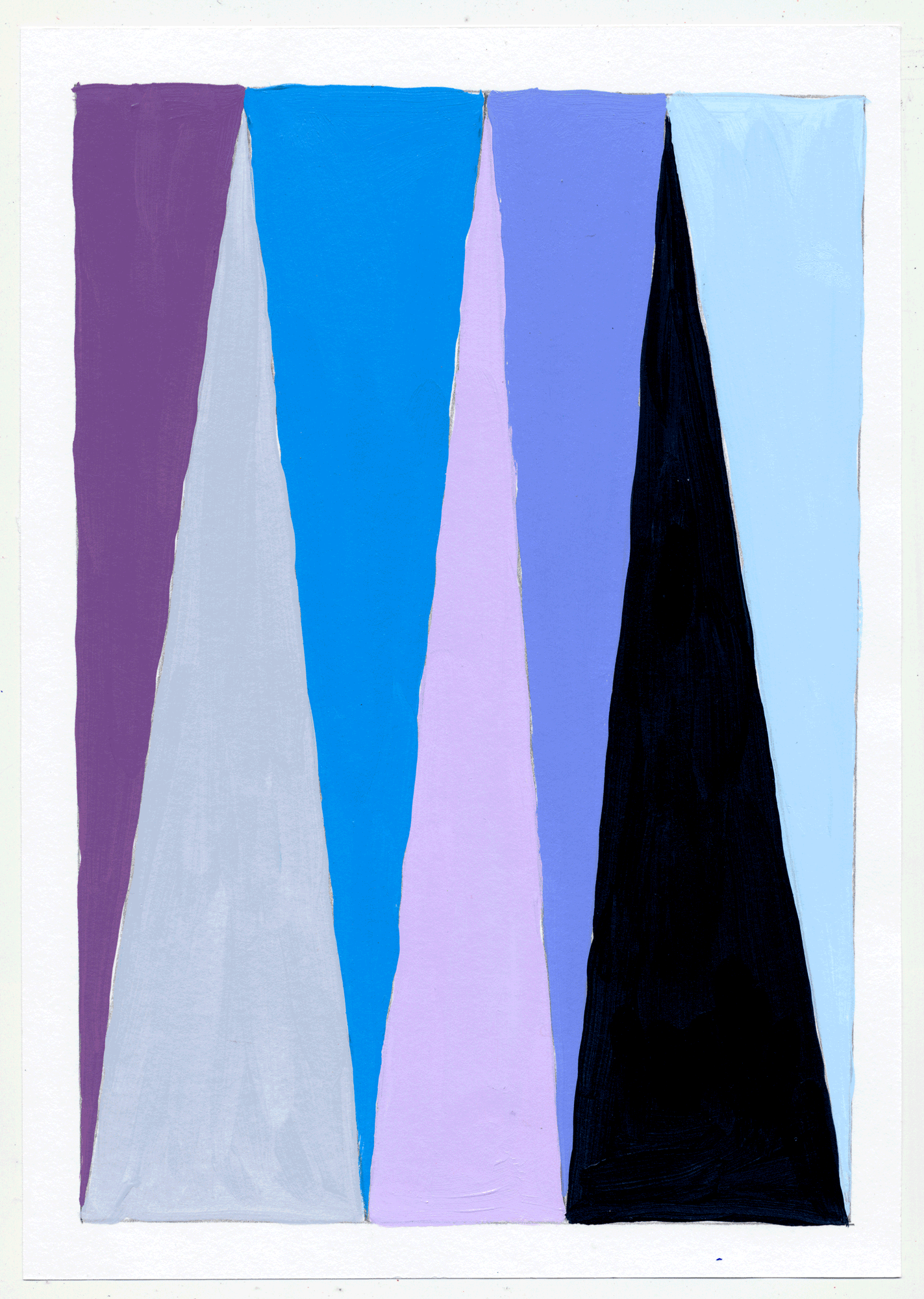 "NY17#29 10"" X 7"", acrylic on paper, 2017  available at Etsy   again with color studies! 3 sets of 3. using a primary color & its' complement to create subtle variations & muted colors."