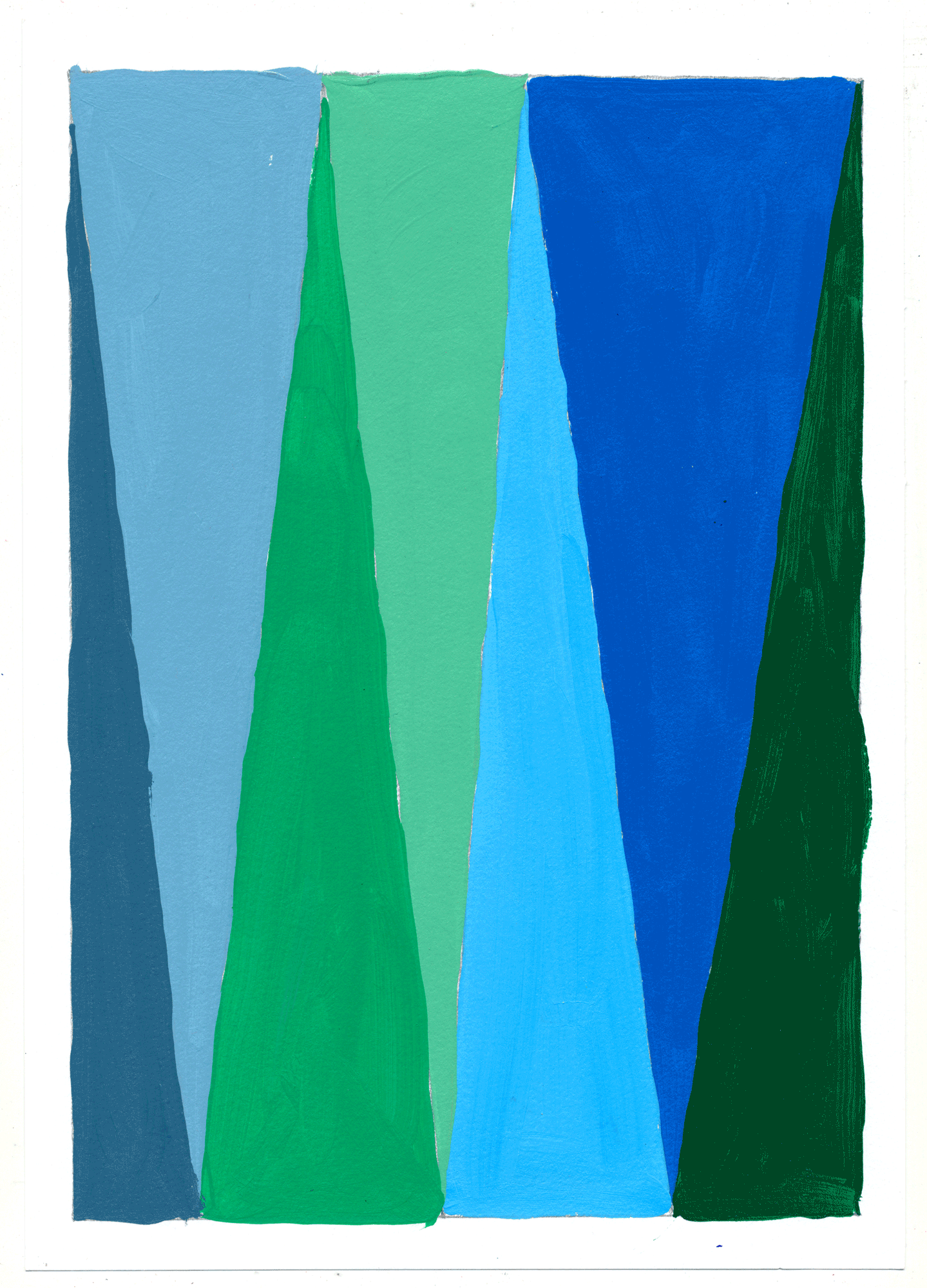 "NY17#28 10"" X 7"", acrylic on paper, 2017  available at Etsy   again with color studies! 3 sets of 3. using a primary color & its' complement to create subtle variations & muted colors."