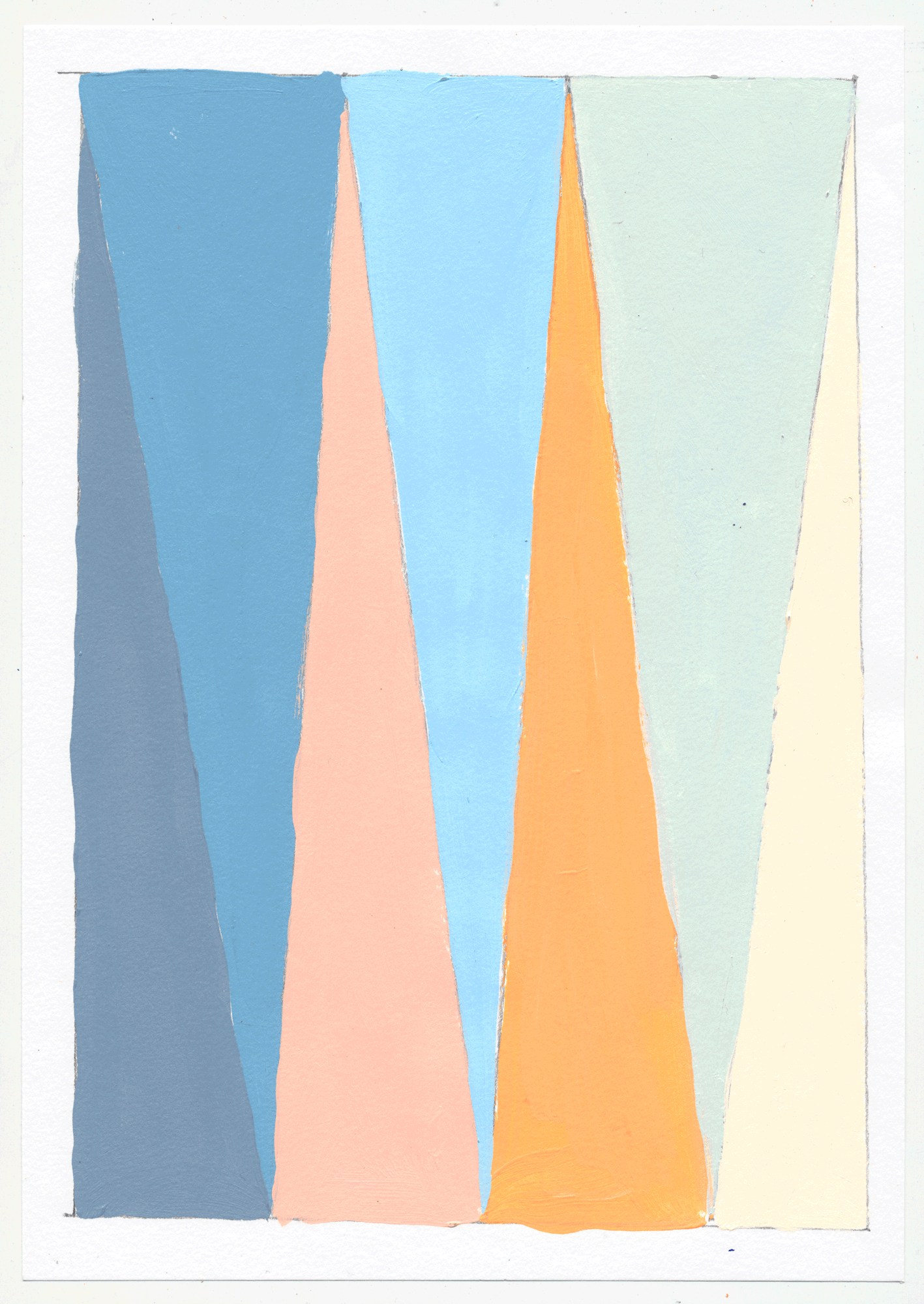 "NY17#27 10"" X 7"", acrylic on paper, 2017  available at Etsy   again with color studies! 3 sets of 3. using a primary color & its' complement to create subtle variations & muted colors."