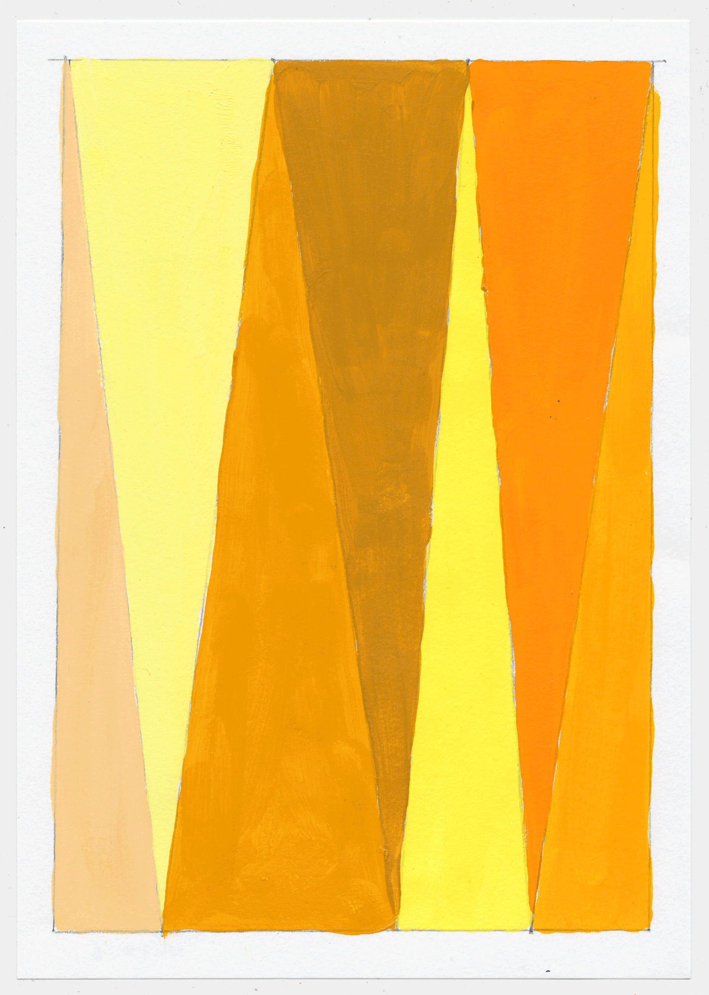 "NY17#26 10"" X 7"", acrylic on paper, 2017  available at Etsy   again with color studies! 3 sets of 3. using a primary color & its' complement to create subtle variations & muted colors."