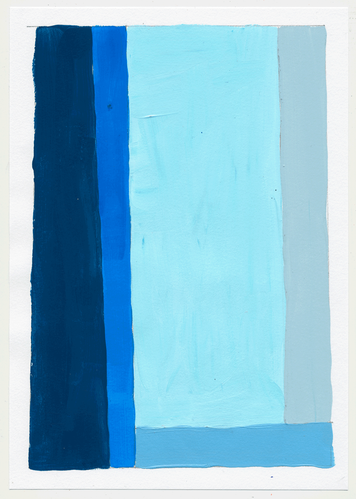 "NY17#23 10"" X 7"", acrylic on paper, 2017  available at Etsy    more color studies. this time with the primary colors, sorta. i went with pink, ochre & cyan...and some red wine."