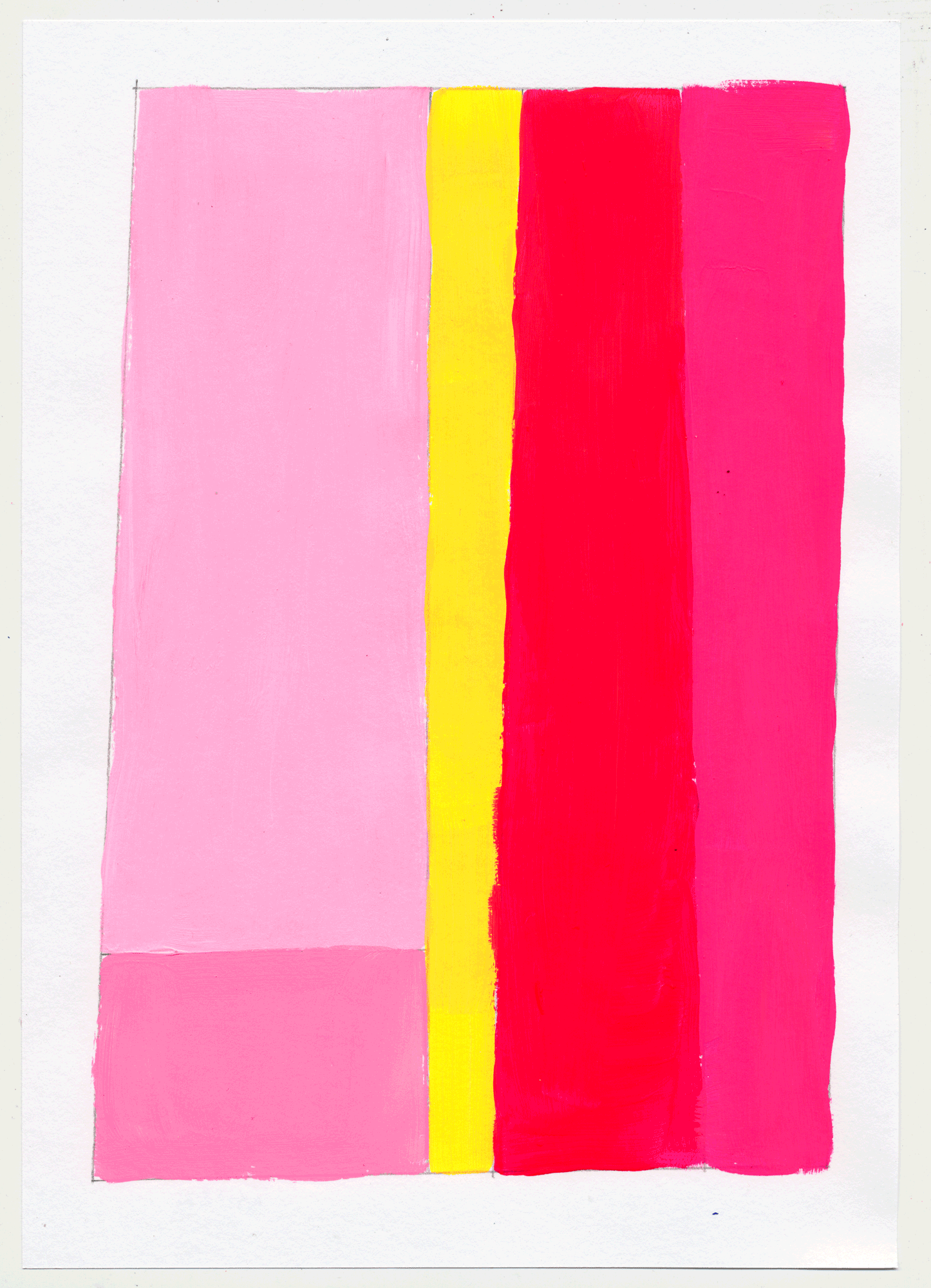 "NY17#21 10"" X 7"", acrylic on paper, 2017  available at Etsy   more color studies. this time with the primary colors, sorta. i went with pink, ochre & cyan...and some red wine."