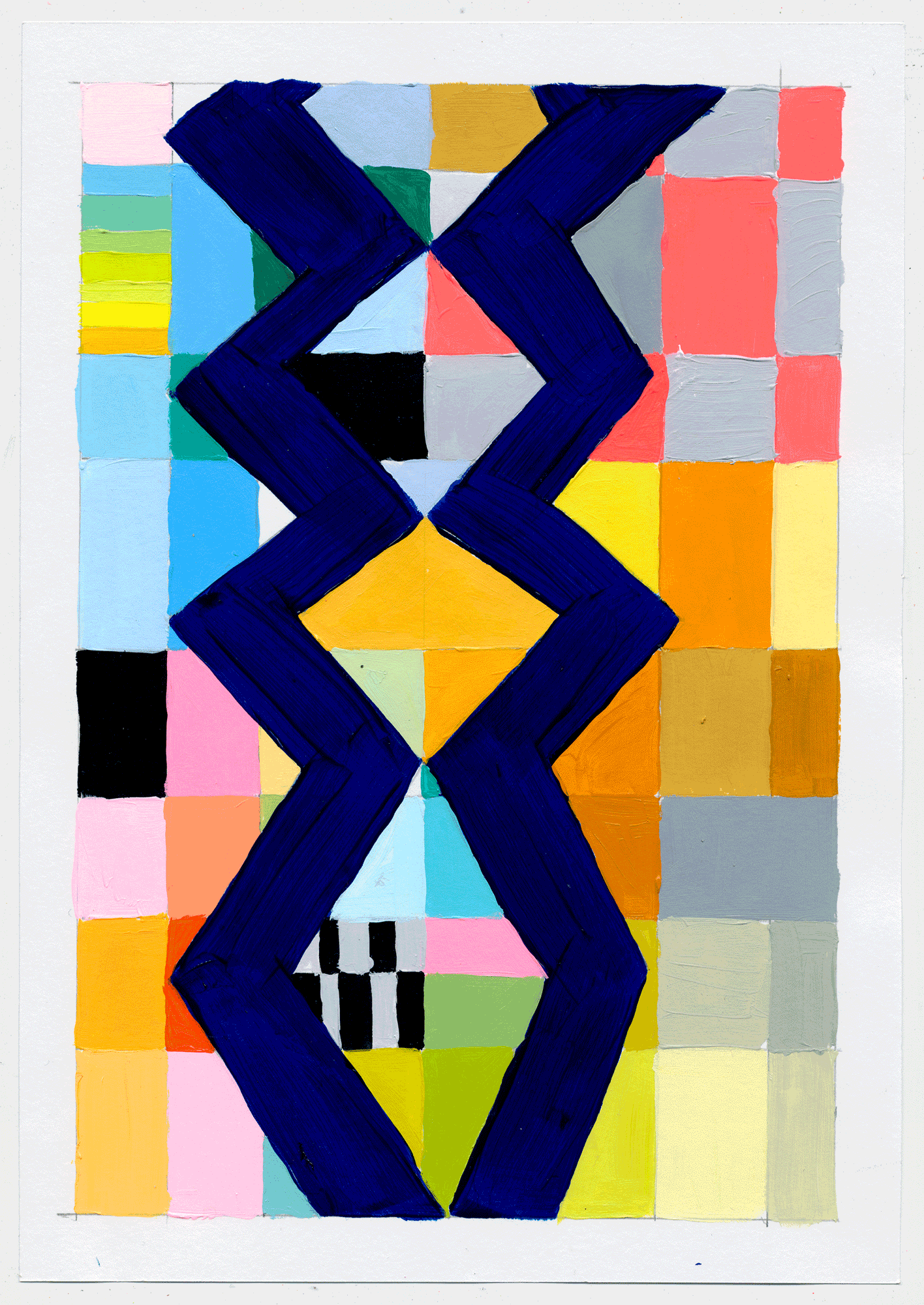 "NY1717 10"" X 7"", acrylic on paper, 2017  available at Etsy   this random queen sprouted out of my deep love of all things Bauhaus. she would also make a fantastic rug!"
