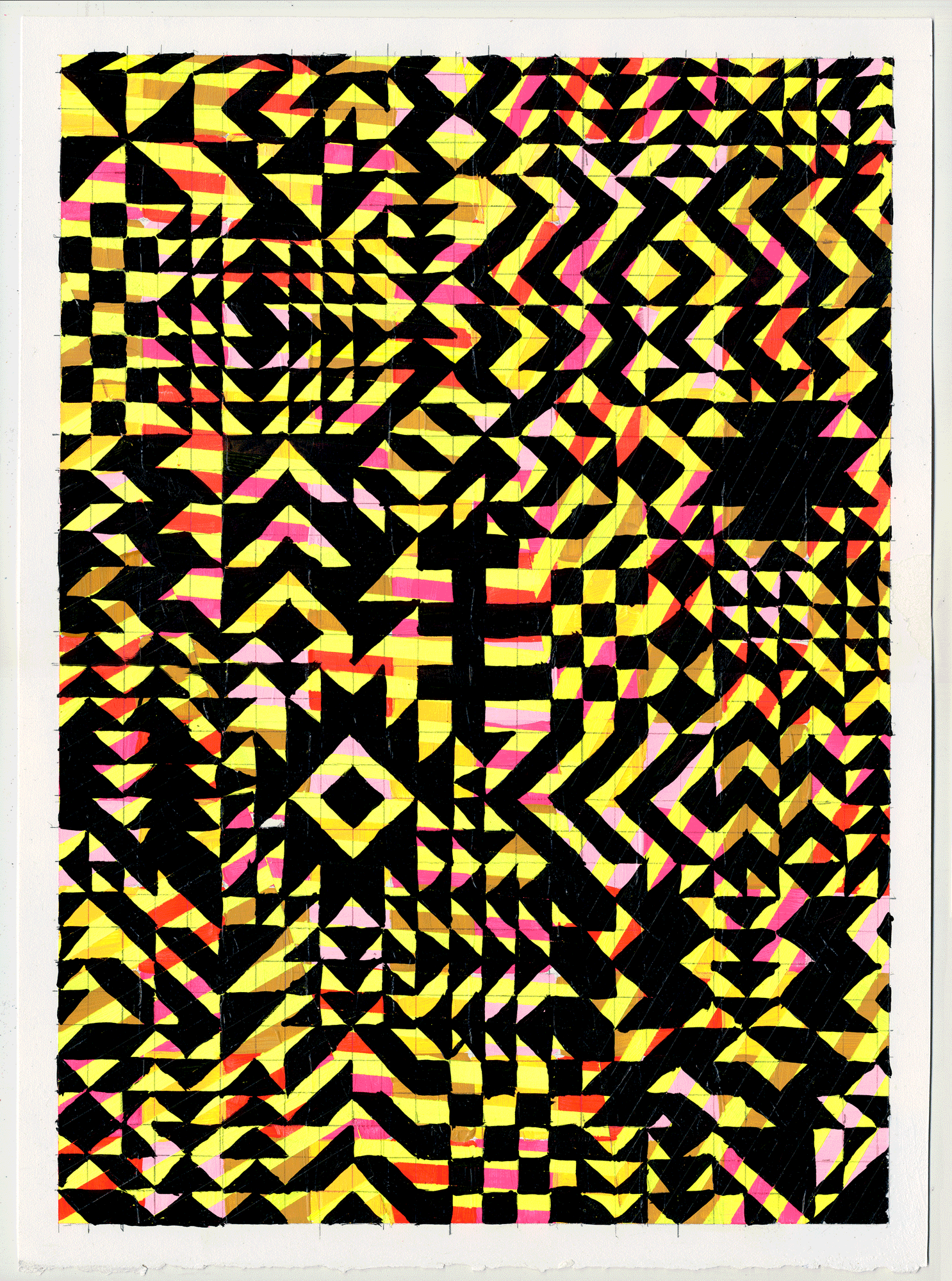 "NY1711 15"" X 11"", acrylic on paper, 2017  available at Etsy   these are the pattern based ladies i mentioned. this grrrl went a little off the rails & she wasn't too interested in sticking to 1 pattern."