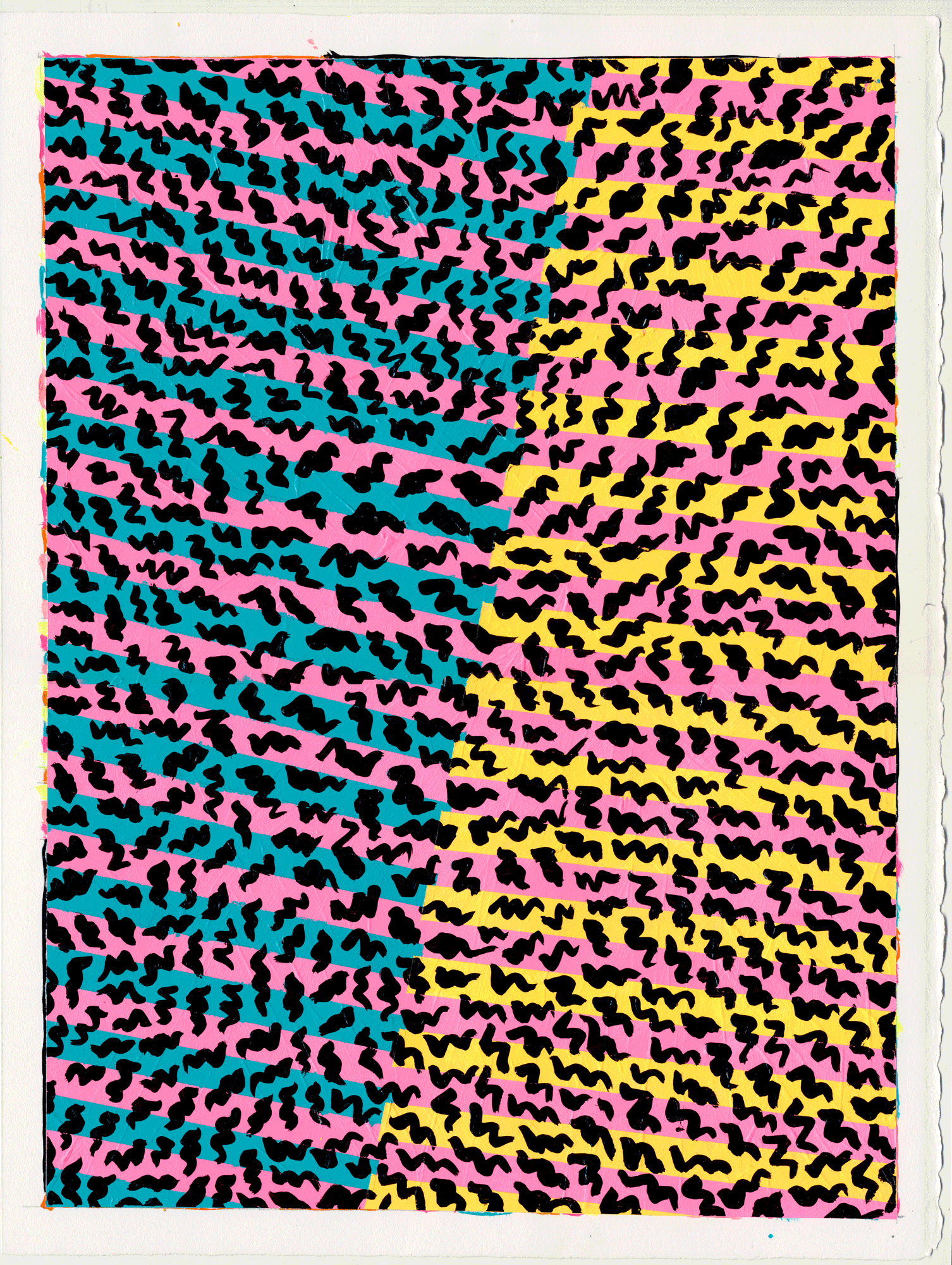 "NY1740 15"" X 11"", acrylic on paper, 2017  available at Etsy  Clothing at  Roxie Rudolf     this is one of several paintings that was inspired by the Ettore Sottsass show at the Met Breuer in 2017. fewer layers but with bolder patterns & colors. playing!"
