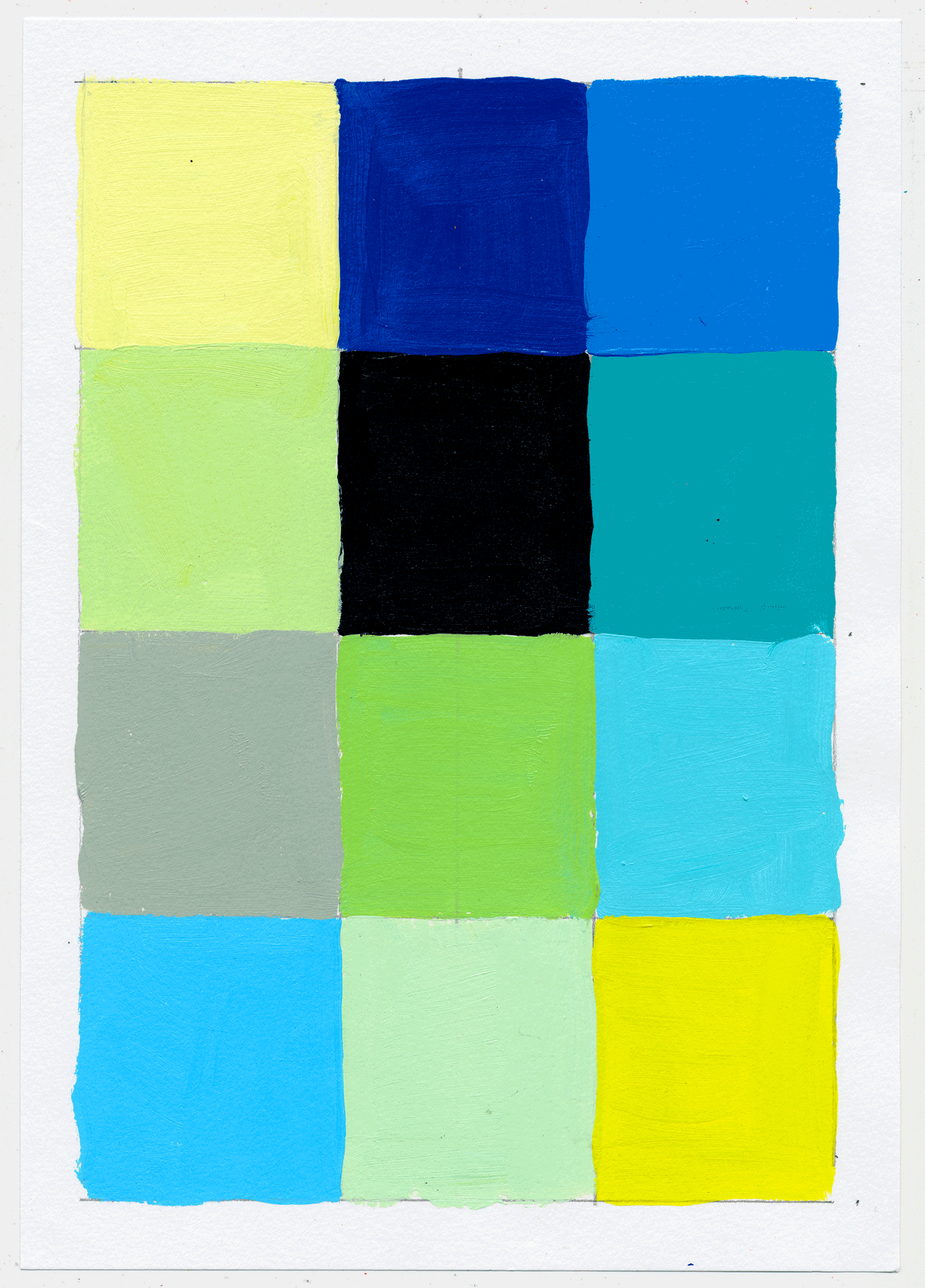 "NY1748 10"" X 7"", acrylic on paper, 2017  available on Etsy   12 little squares to help figure out the intricacies of pink, yellow & blue. there's NEVER an end to  figuring it out,  cuz you don't. PLAY!"