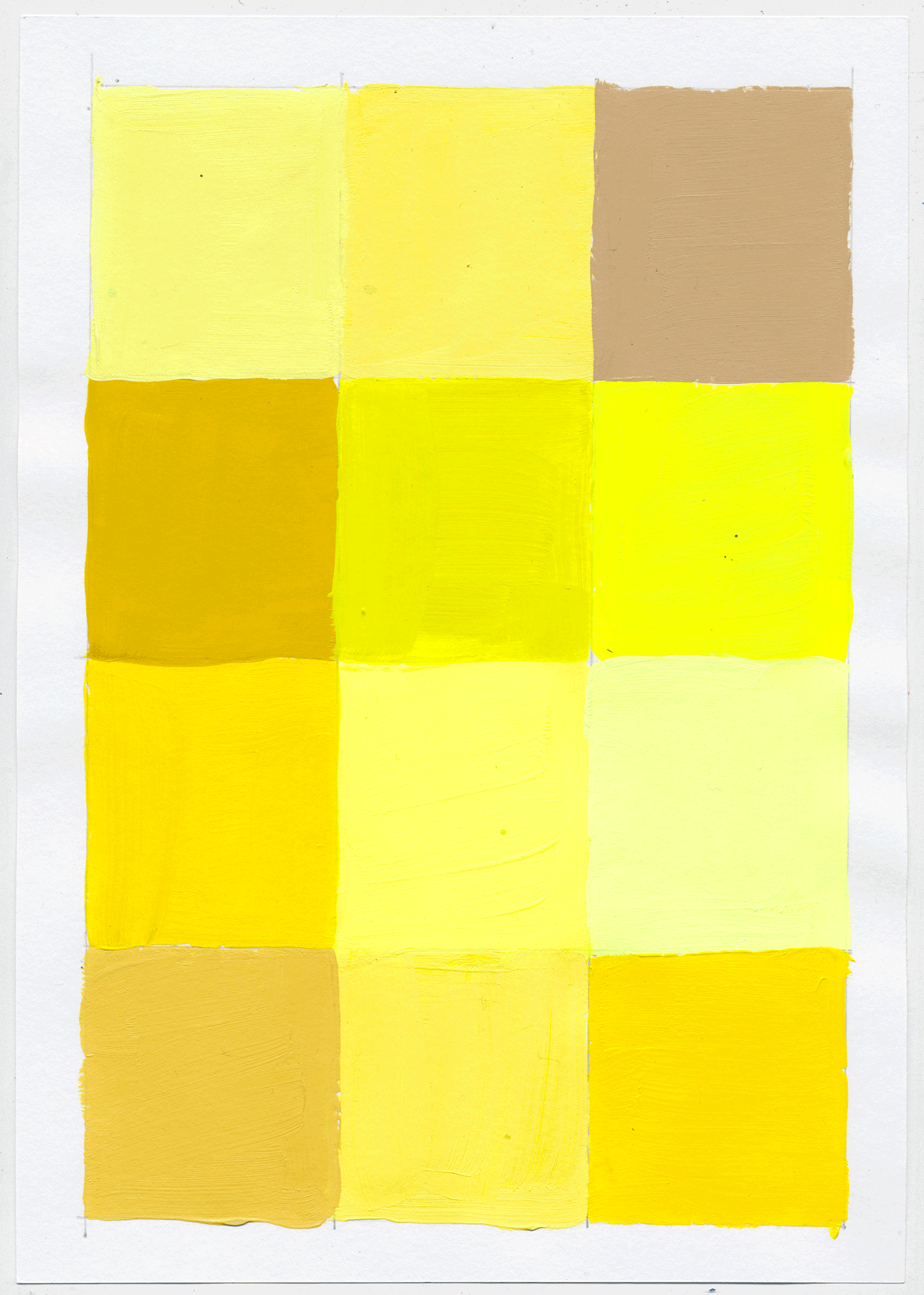 "NY1747 10"" X 7"", acrylic on paper, 2017  available on Etsy   12 little squares to help figure out the intricacies of pink, yellow & blue. there's NEVER an end to  figuring it out,  cuz you don't. PLAY!"
