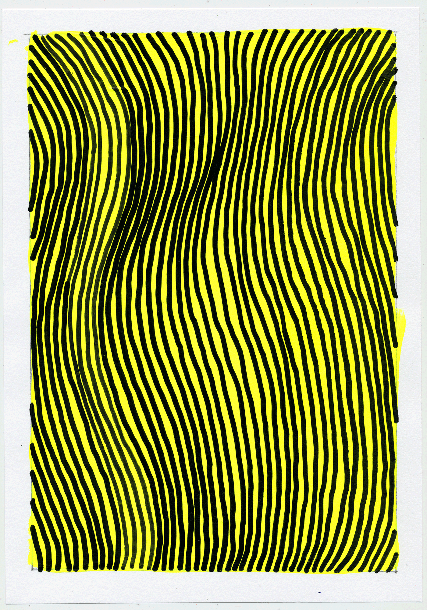 "NY1753 10"" X 7"", acrylic on paper, 2017  available at Etsy   i never get sick of repeating simple shapes over bright colors and watching what my unstable hand will create. usually a swerving optic trip."