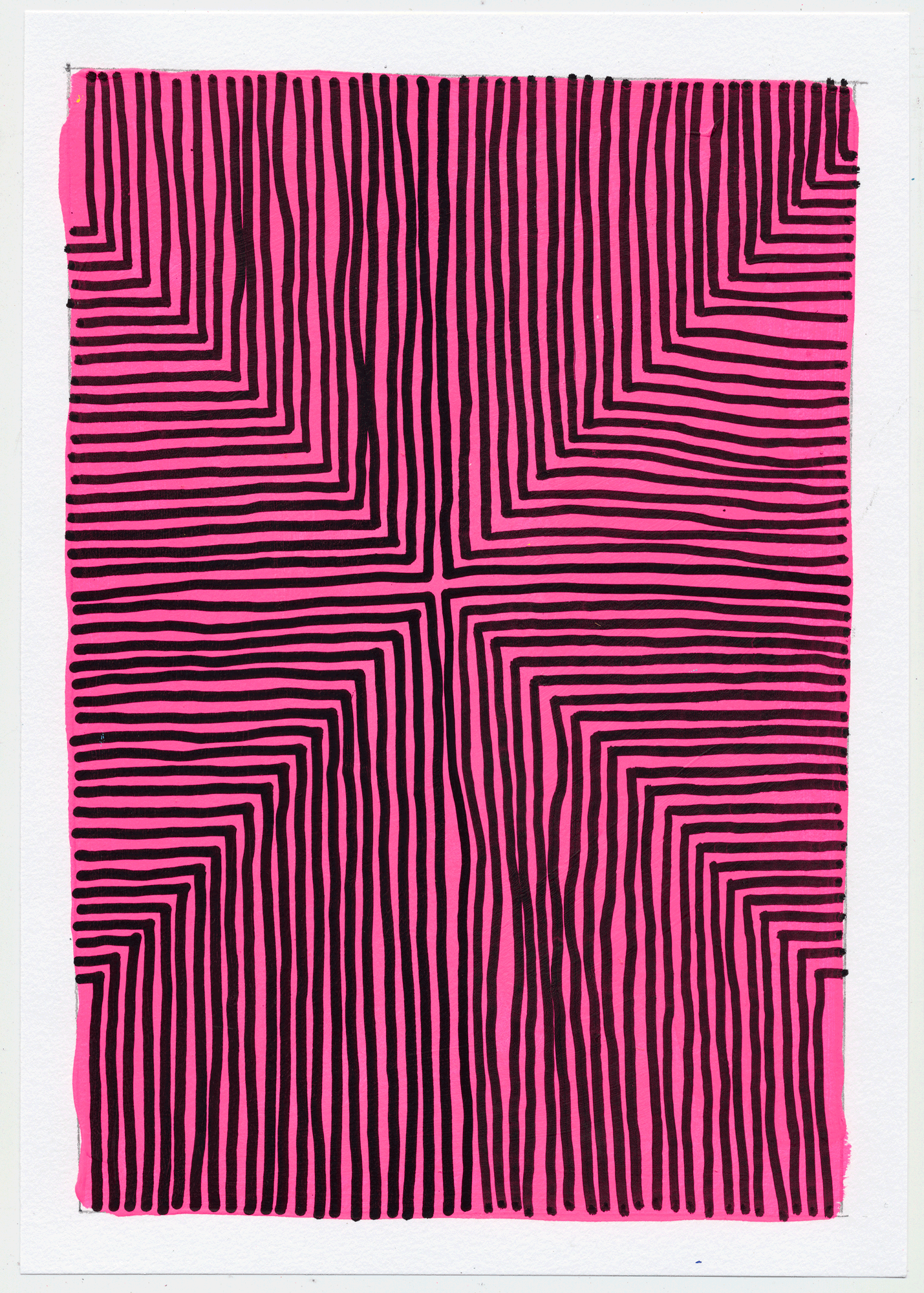 "NY1752 10"" X 7"", acrylic on paper, 2017  available at Etsy   i never get sick of repeating simple shapes over bright colors and watching what my unstable hand will create. usually a swerving optic trip."