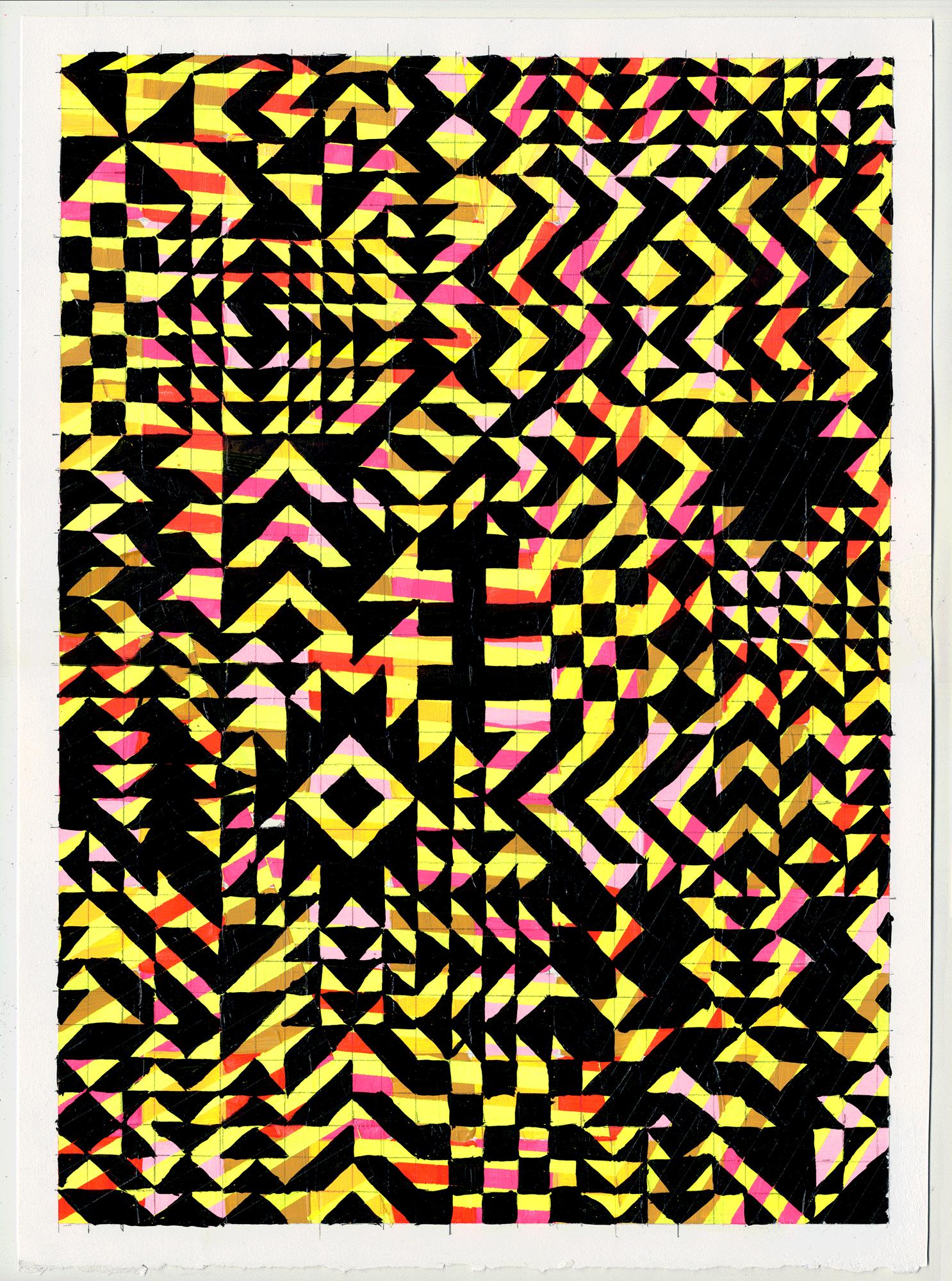 """NY1711, 15"""" X 11"""", acrylic on paper, 2017"""