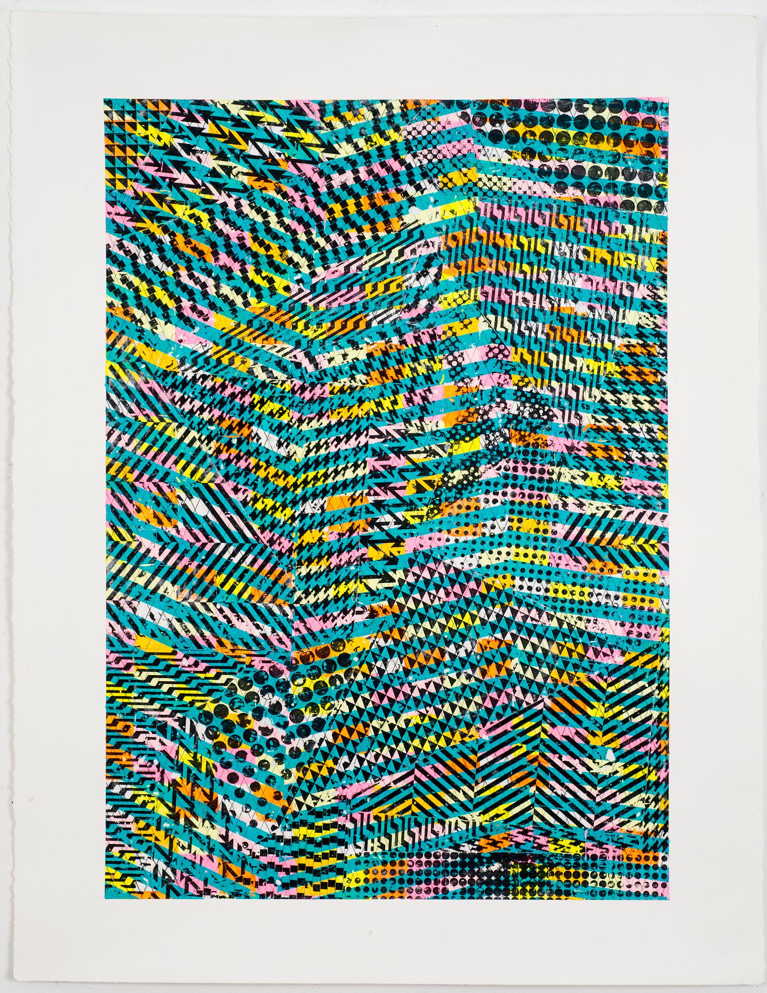 """NY1666, 30"""" X 22"""", acrylic on paper, 2016"""