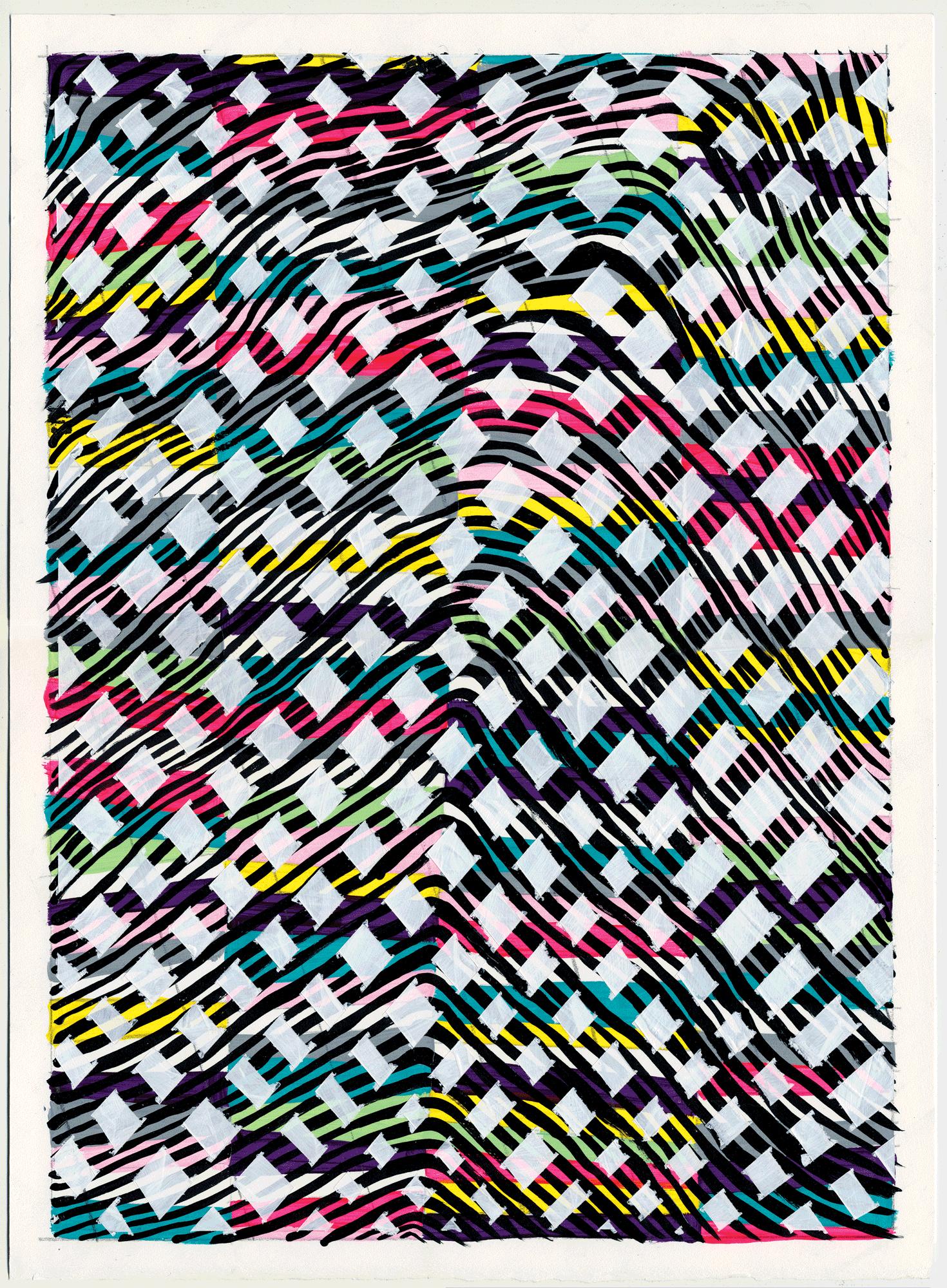 """NY1710, 15"""" X 11"""", acrylic on paper, 2017"""