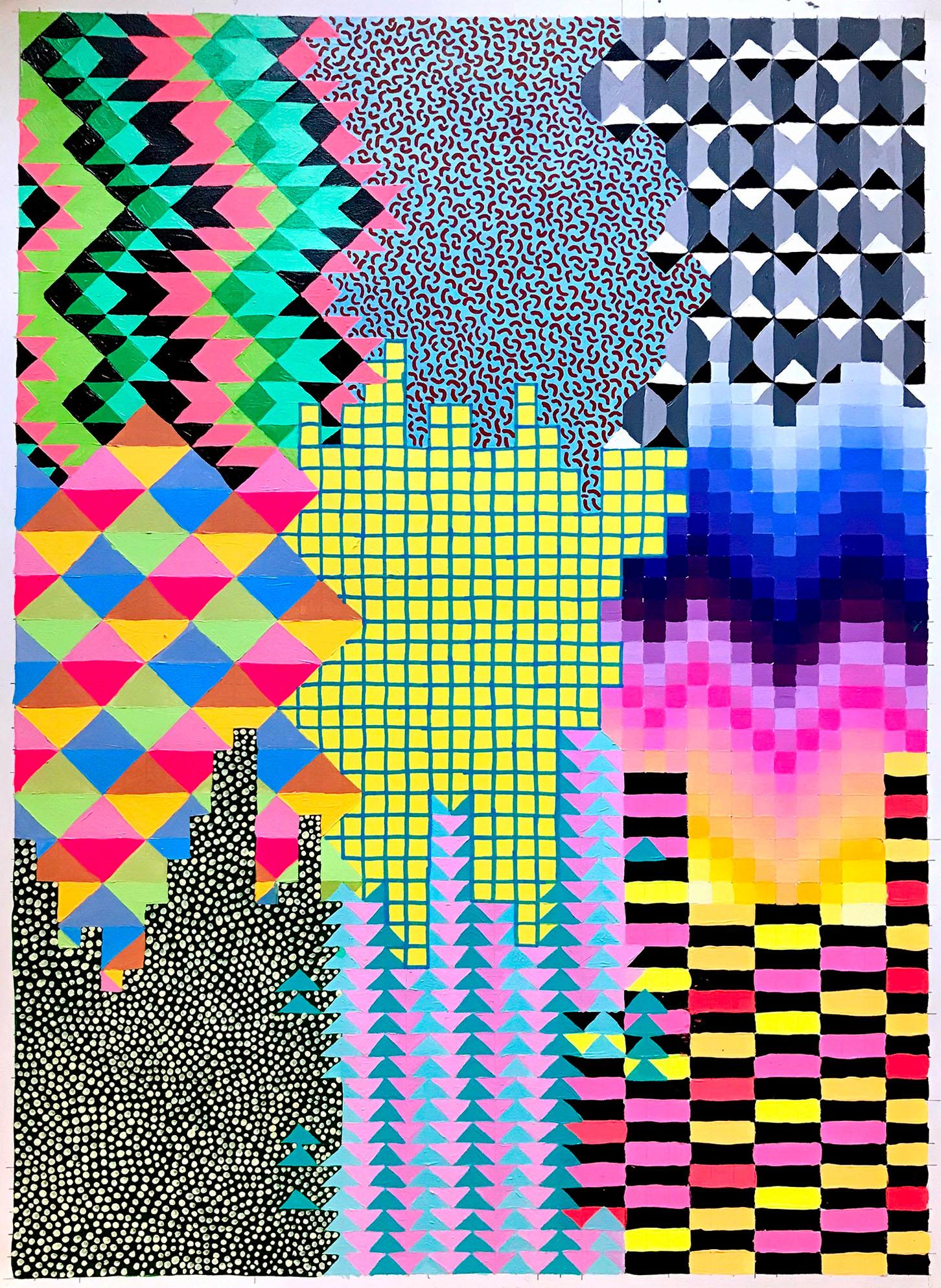 """NY1864, 30"""" X 22"""", acrylic on paper, 2018"""