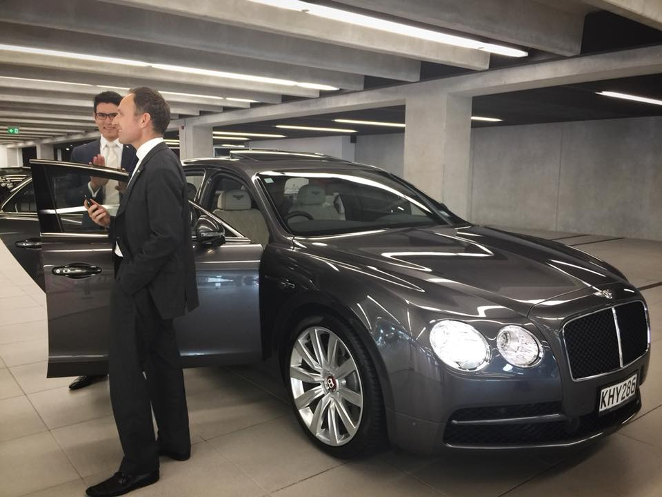 Video interview inside Bentley Flying Spur with film crews of 'Supernormal'