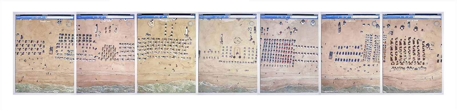 """Looking    Down  From Above - 25.79239 N 80.12592 W    Watercolor on paperboard    7 panels: 7.75"""" x 44"""" total, 7.75"""" x 7.75"""" each    2013"""