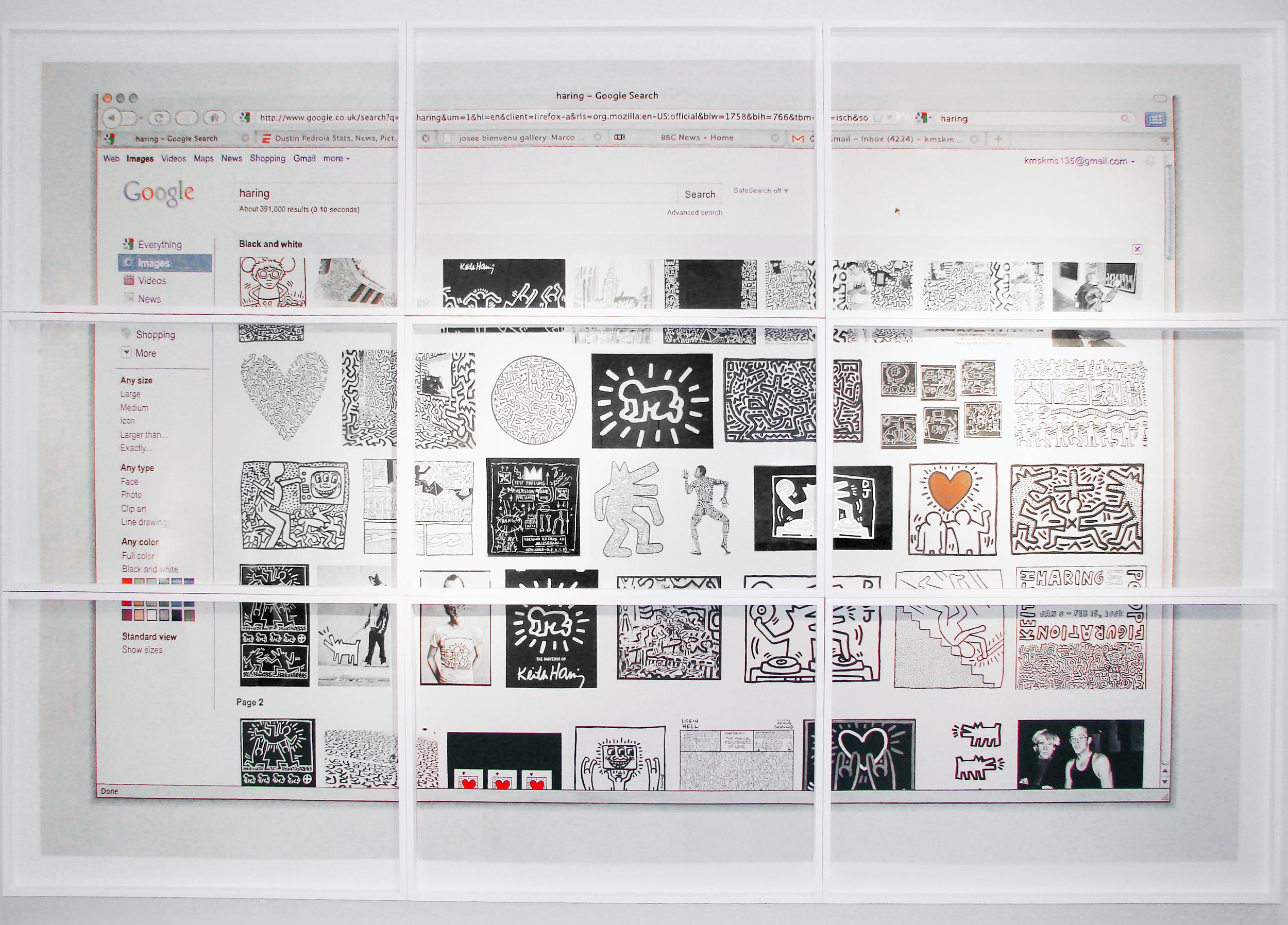 "Google Portrait - haring  Watercolor  nine panels, each 18"" x 26"", 56"" x 81"" total  2011"