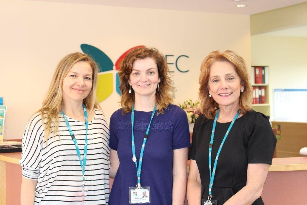 Justine Clarke pictured with Sing&Grow VIC/TAS Manager, Rebecca Huntley (middle) and QEC CEO, Athina Georgiou (right)