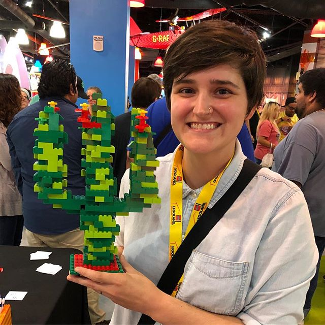 """Tonight I think I reached peak Jan. I won a """"summer in Texas"""" building competition with this cactus at the inaugural Adult Night at Legoland Discovery. Shout out to my other half @sarahserp for buying the tickets, taking my picture, basking in my win with me, and putting up with all the Legos that I bring to our relationship. #legonerd #peakjan #adulting #winning #summerintexas #vivalegoland"""