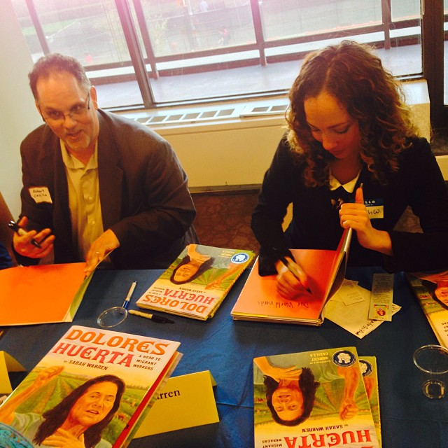 Robert and I sign books after the presentation.