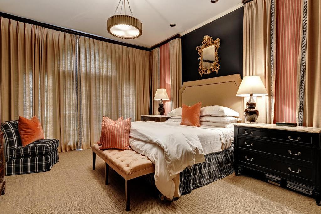 Pink and Black master bedroom