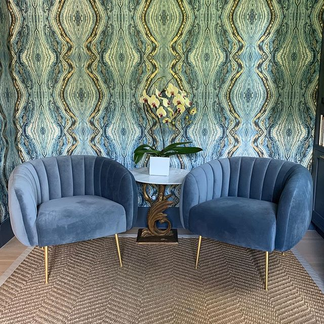 We love it when designers find something they need in the shop!  These blue channeled chairs work perfectly in a space for @sarahwittenbraker - thank you!💙