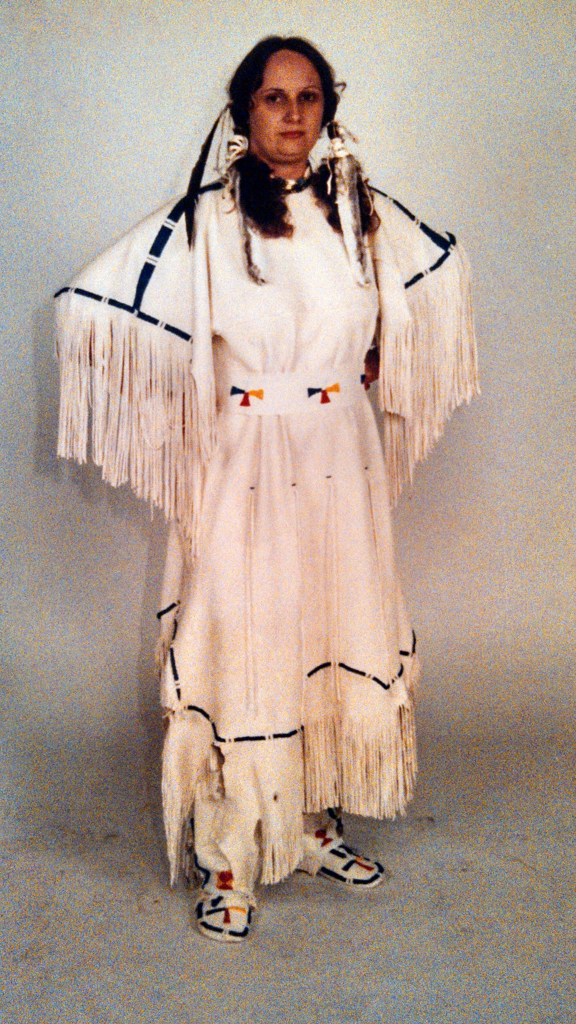 Lakota 3 hide style deerskin dress with leggings and moccasins