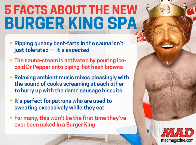 Thank you Mad, for being the only one on the Internet who Photoshopped the King into a sauna. Now we don't have to.