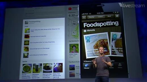 """""""Here's the video! You can spot Foodspotting in the Lifestyle section starting at 1:04:00. Such an honor to be highlighted among the likes of Nike+ and Spotify. We were the youngest startup highlighted in the keynote!""""    http://www.livestream.com/f8live/video?clipId=pla_0b68074c-8f61-47bd-9348-f41bafc59c25"""