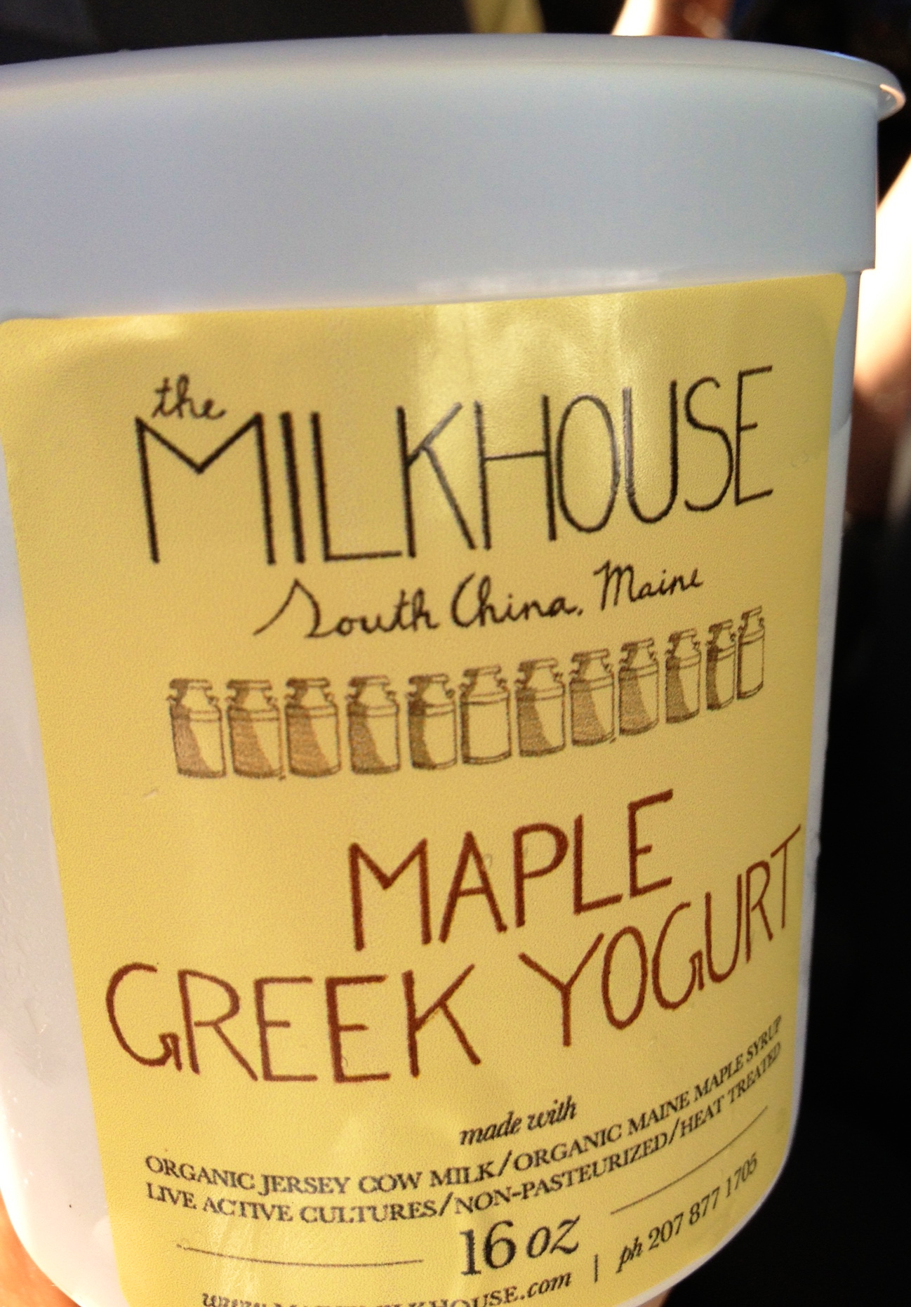 New labels! They are colored coded for the different kinds of yogurt we make. More pictures to come.   Photo credit: Betsey Holland (thank you!)