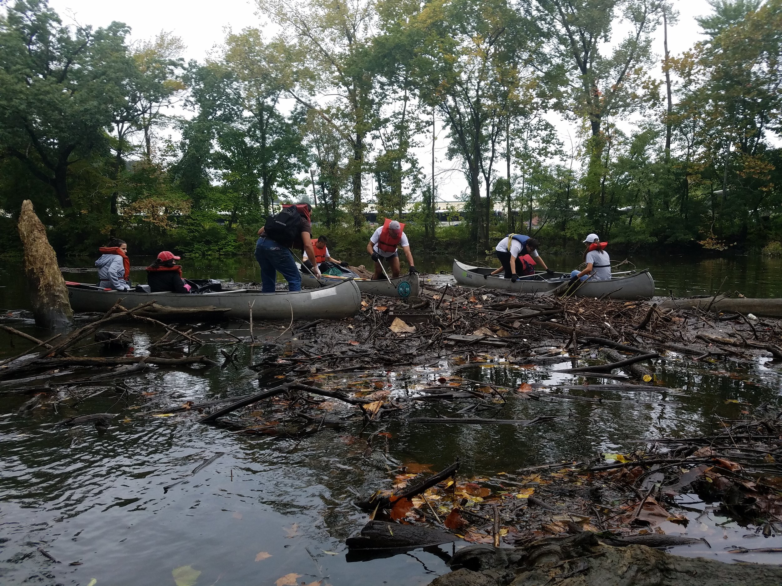 The team getting started in the river…