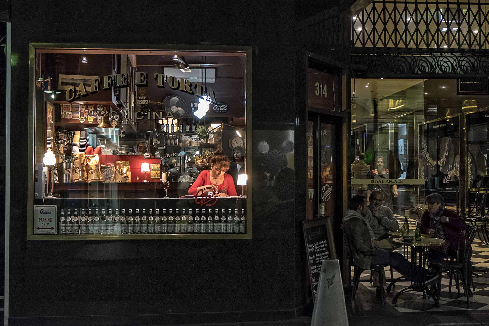 Little Collins Street and Royal Arcade, evening at the Caffe e Torta.