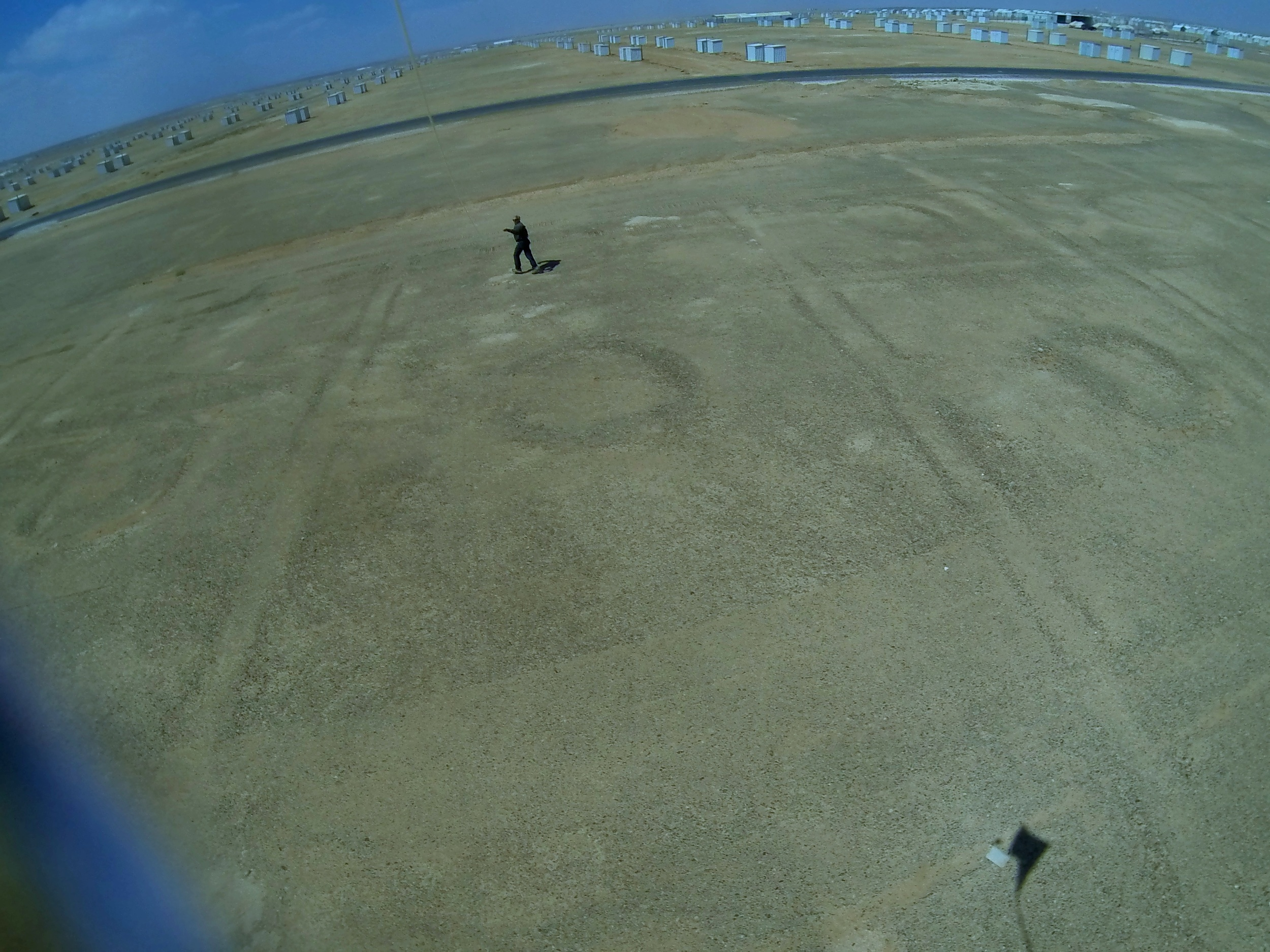Getting the kite and Go Pro into the air over Azraq refugee camp in Jordan