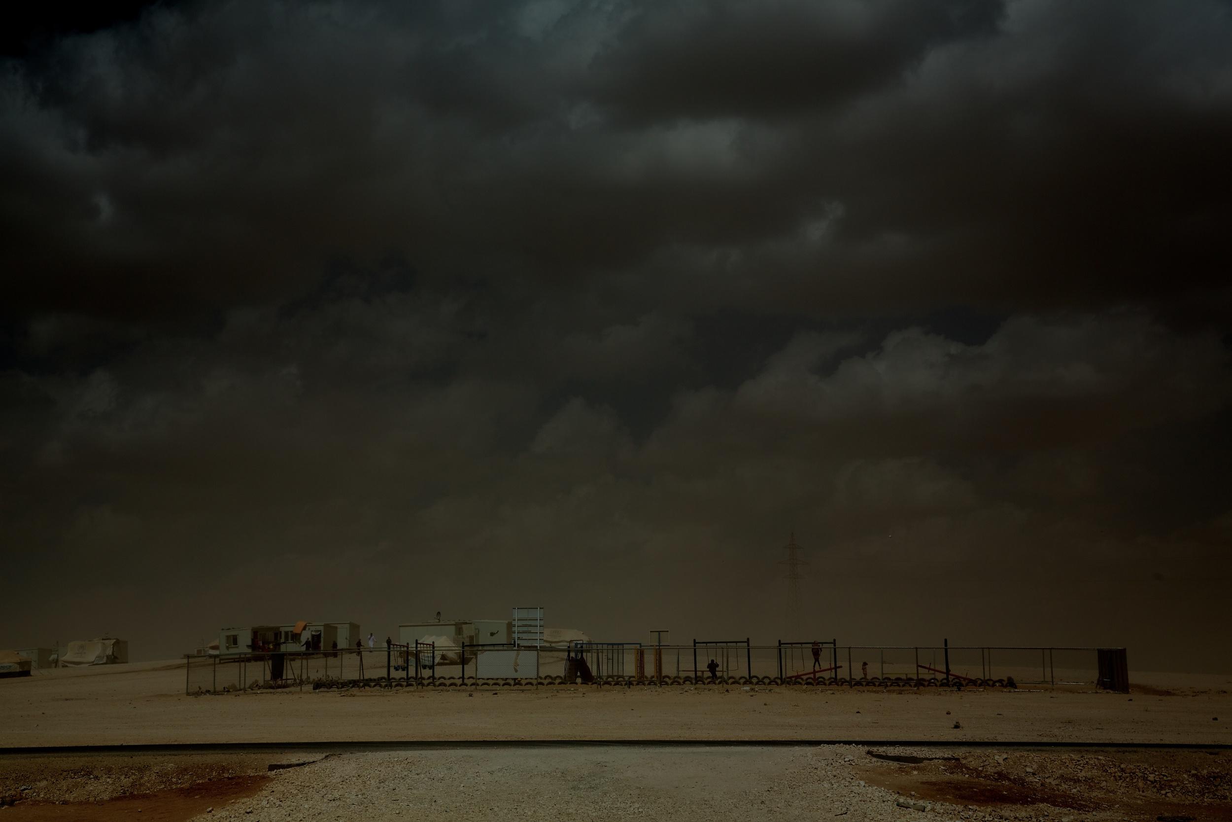 A playground at Zaatari refugee camp in Jordan.