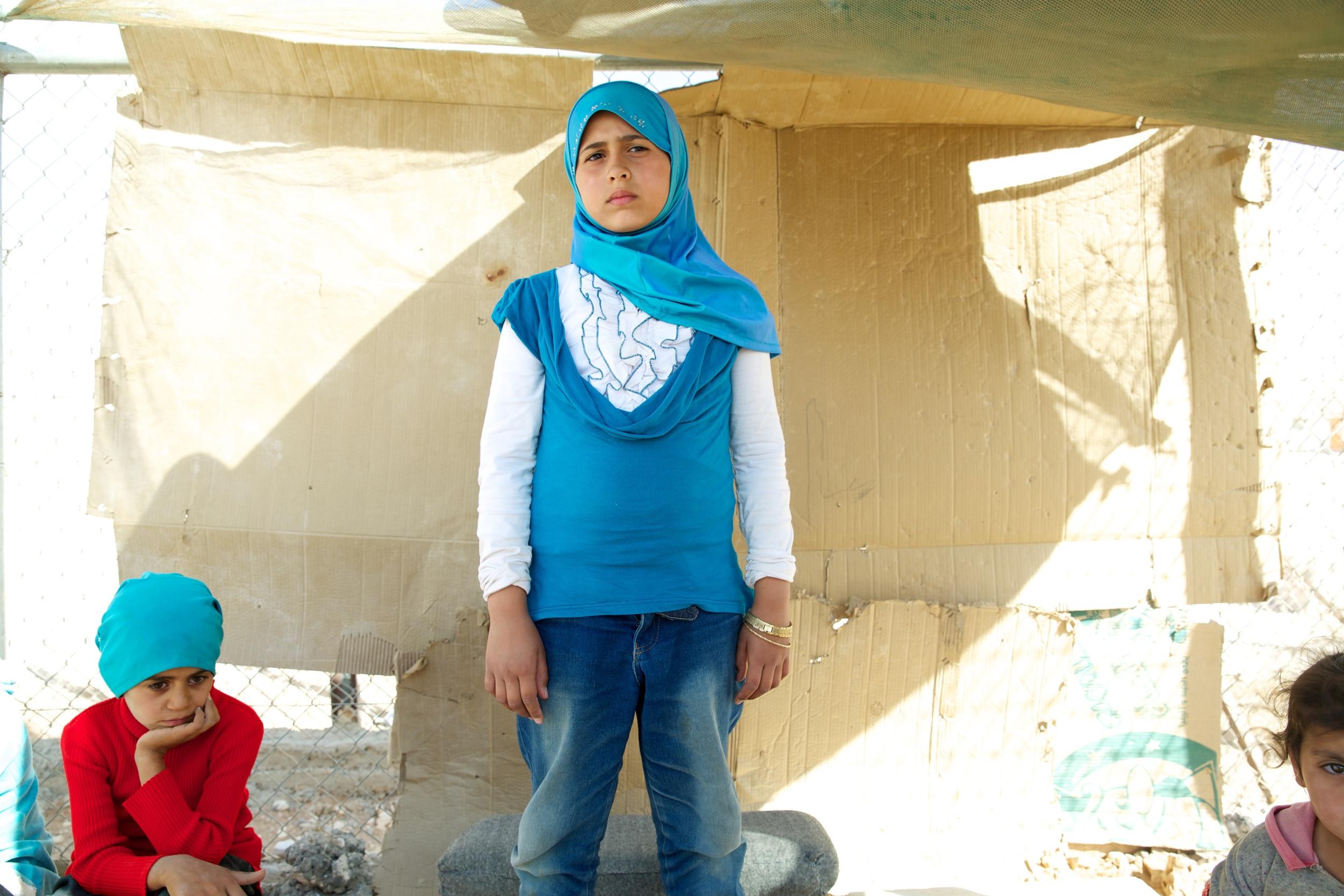 Refugee children at Zaatari refugee camp in Jordan.