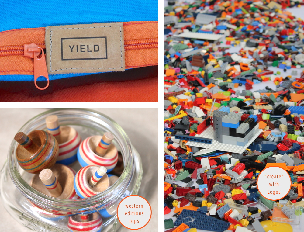 Yield || the bag unzips to become a picnic blanket! genius for my lifestyle.    Legos || Creating is for everyone! (kids too!)     Tops || Creators also teach letterpress classes in the city!