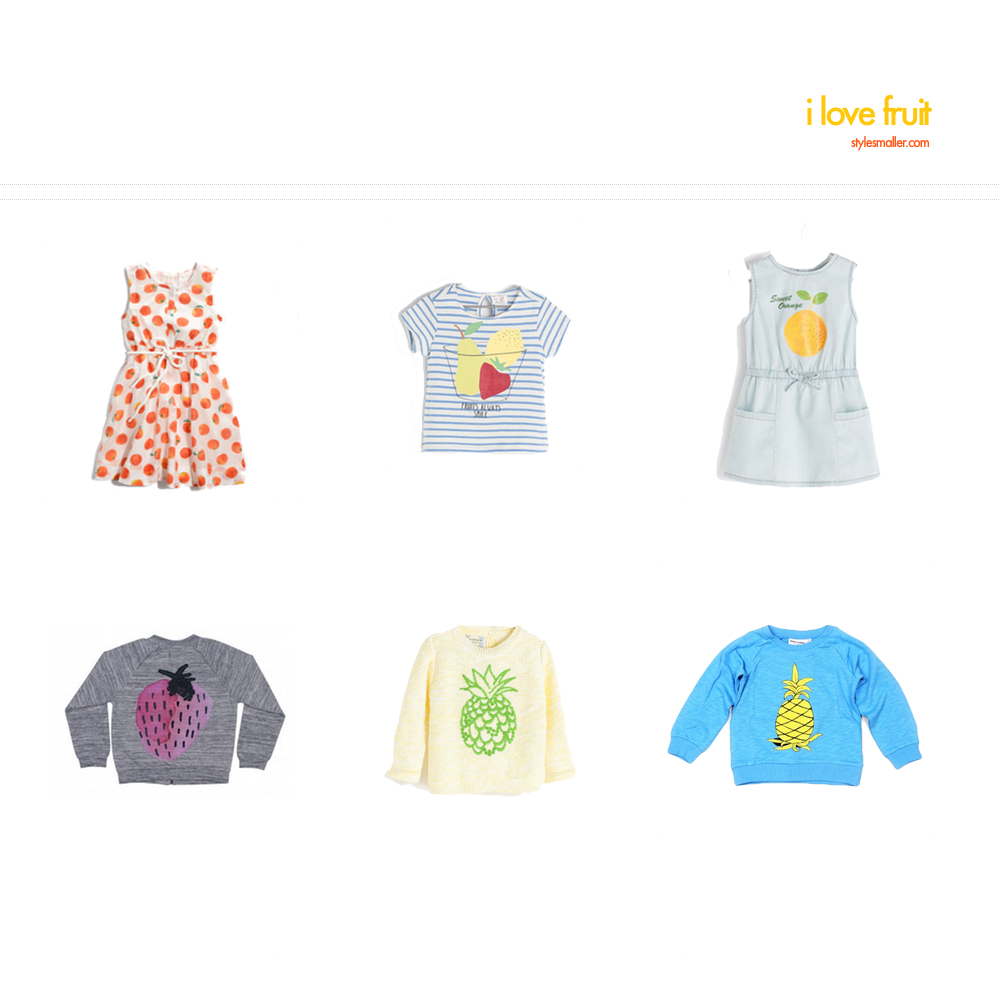 orange dress  .  striped tee  .  chambray dress  .  strawberry shirt  .  pineapple sweater  .  pineapple sweatshirt  .